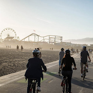 bikers going to santa monica pier