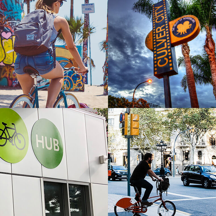 Collage of people riding bikes in different Culver City, California sights