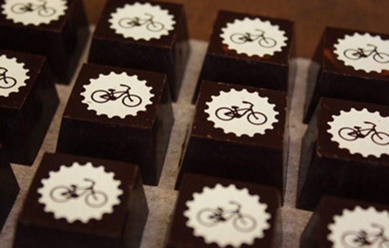 little chocolates with bicycle pictures